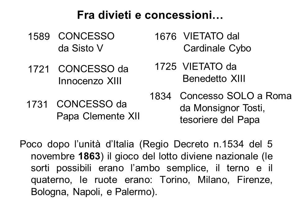 Poco dopo l'unità d'Italia (Regio Decreto n.1534 del 5 novembre 1863) il gioco del lotto diviene nazionale (le sorti possibili erano l'ambo semplice,