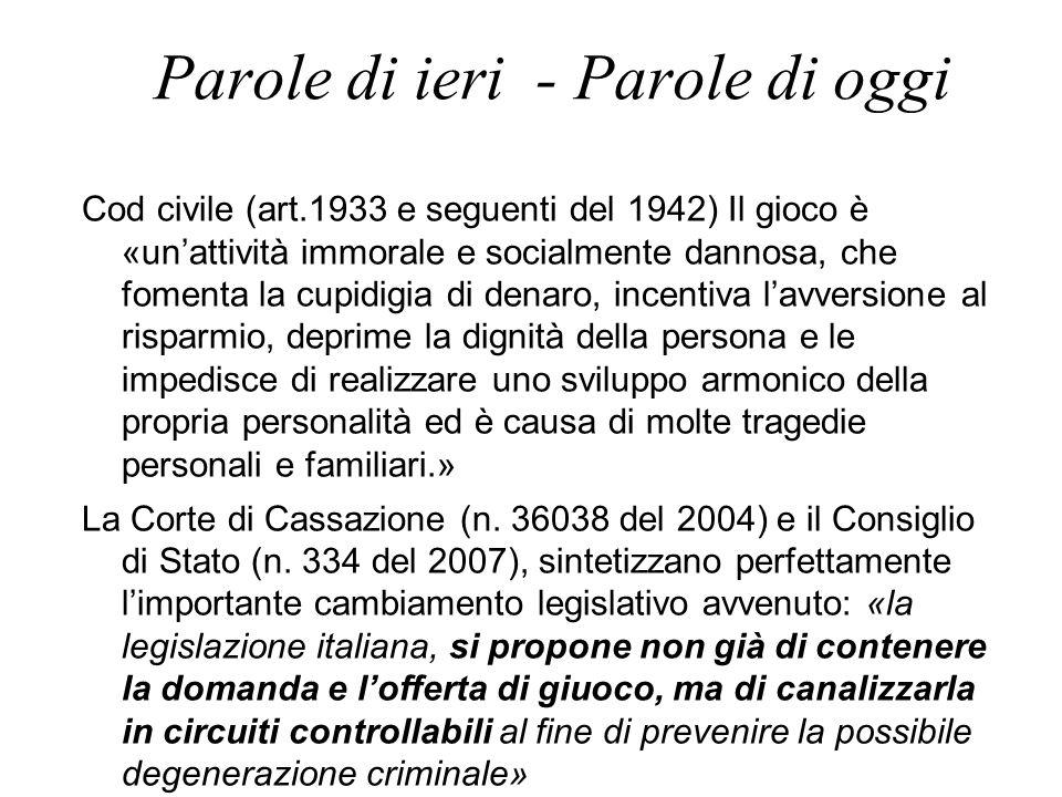 Parole di ieri - Parole di oggi Cod civile (art.1933 e seguenti del 1942) Il gioco è «un'attività immorale e socialmente dannosa, che fomenta la cupid