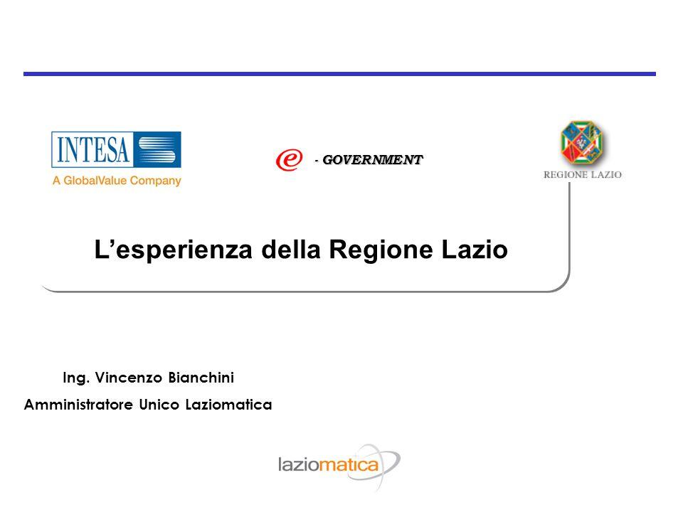 L'esperienza della Regione Lazio - GOVERNMENT Ing. Vincenzo Bianchini Amministratore Unico Laziomatica