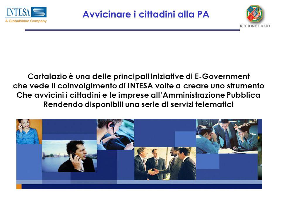 Cartalazio è una delle principali iniziative di E-Government che vede il coinvolgimento di INTESA volte a creare uno strumento Che avvicini i cittadini e le imprese all'Amministrazione Pubblica Rendendo disponibili una serie di servizi telematici Avvicinare i cittadini alla PA