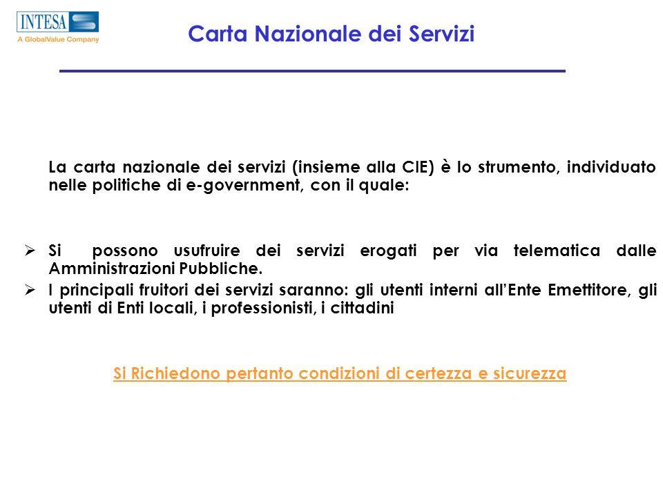 Carta Nazionale dei Servizi La carta nazionale dei servizi (insieme alla CIE) è lo strumento, individuato nelle politiche di e-government, con il quale:  Si possono usufruire dei servizi erogati per via telematica dalle Amministrazioni Pubbliche.