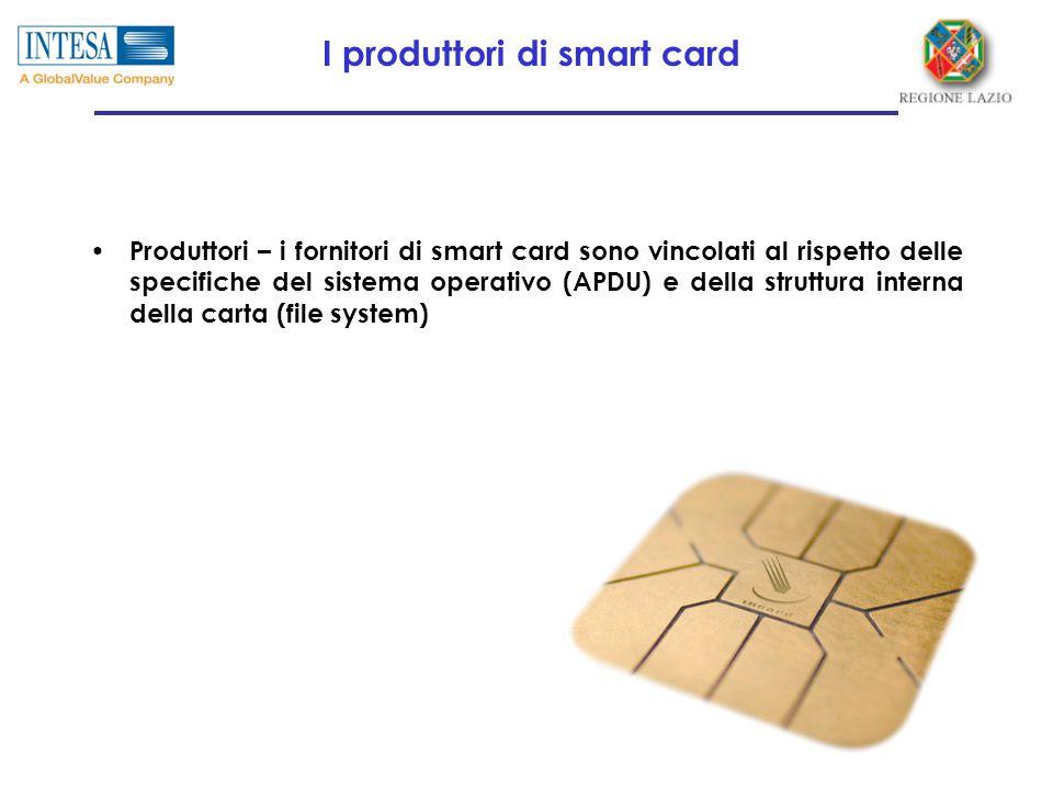 I produttori di smart card Produttori – i fornitori di smart card sono vincolati al rispetto delle specifiche del sistema operativo (APDU) e della struttura interna della carta (file system)
