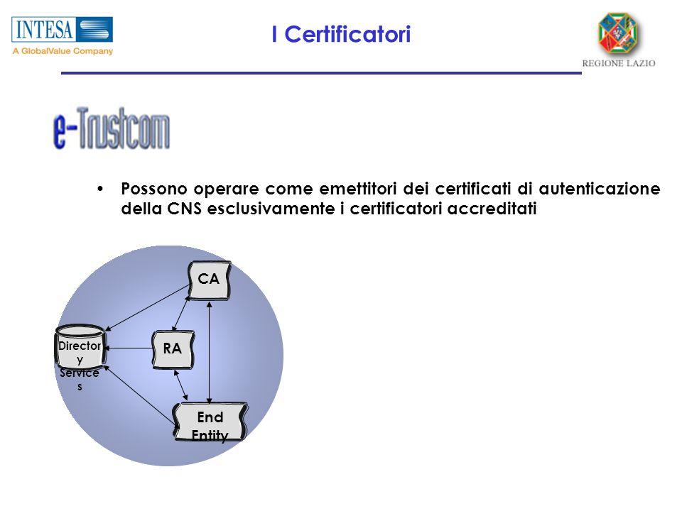 I Certificatori Possono operare come emettitori dei certificati di autenticazione della CNS esclusivamente i certificatori accreditati CA RA End Entit