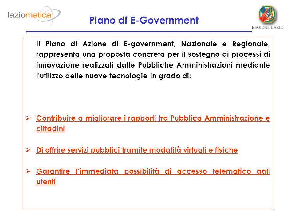 Il Piano di Azione di E-government, Nazionale e Regionale, rappresenta una proposta concreta per il sostegno ai processi di innovazione realizzati dal