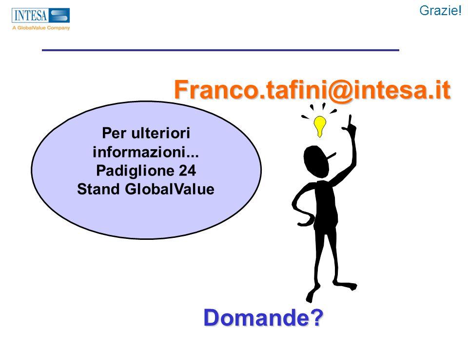 Franco.tafini@intesa.it Per ulteriori informazioni... Padiglione 24 Stand GlobalValue Domande? Grazie!