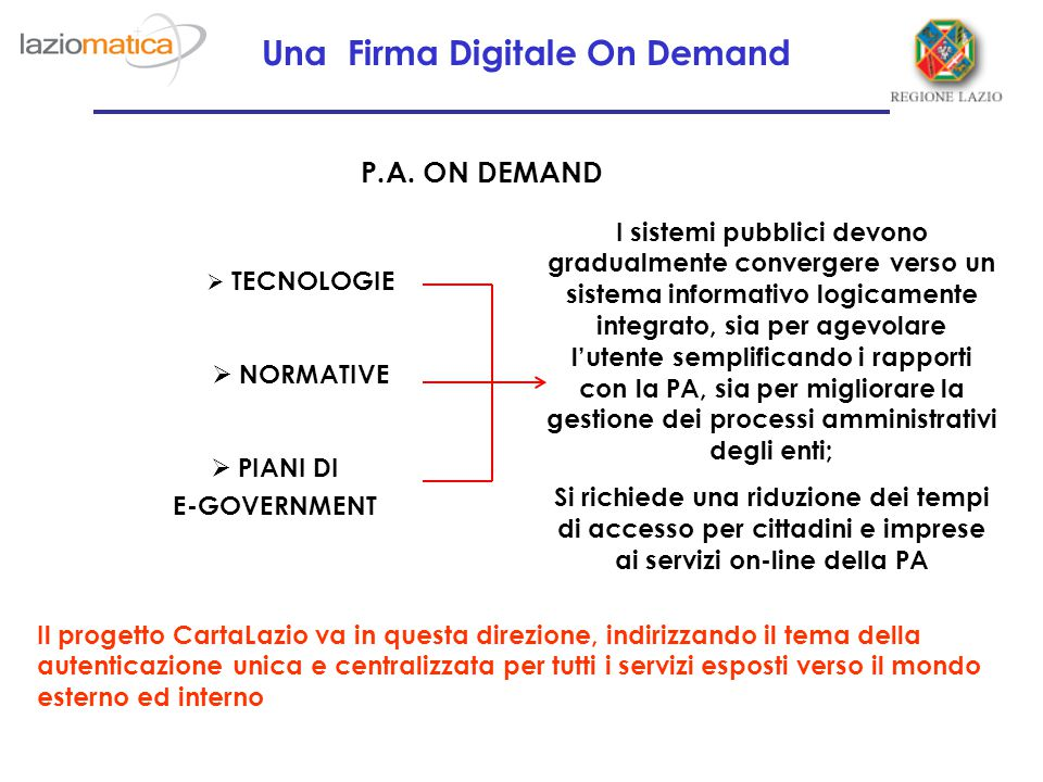 Una Firma Digitale On Demand P.A.