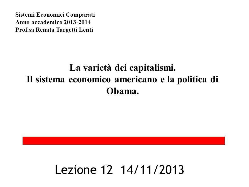 La varietà dei capitalismi. Il sistema economico americano e la politica di Obama. Lezione 12 14/11/2013 Sistemi Economici Comparati Anno accademico 2