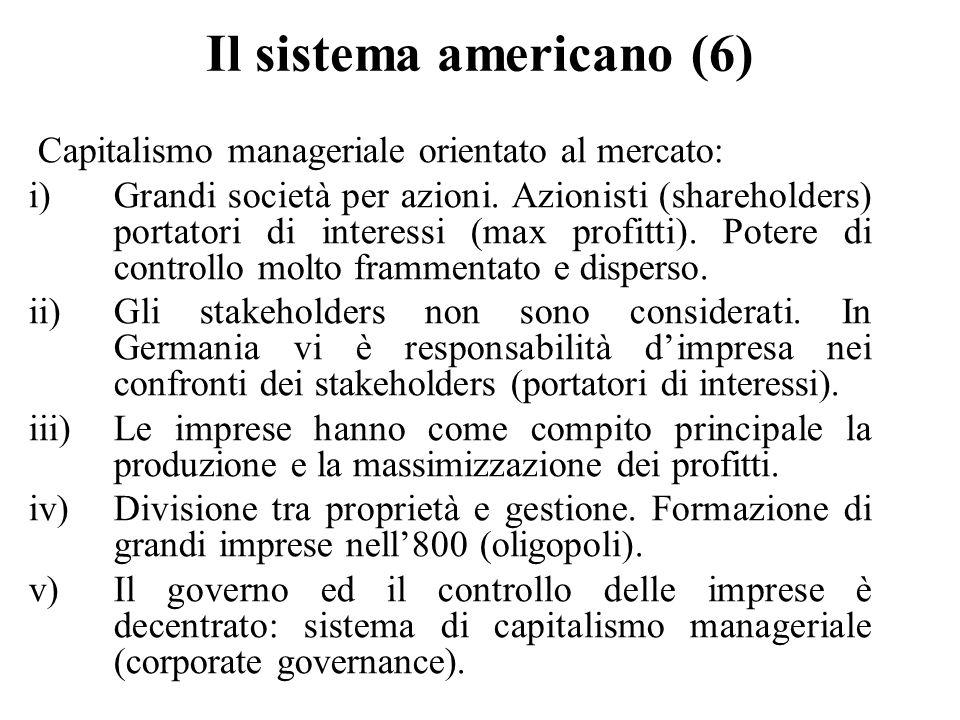 Il sistema americano (6) Capitalismo manageriale orientato al mercato: i)Grandi società per azioni. Azionisti (shareholders) portatori di interessi (m