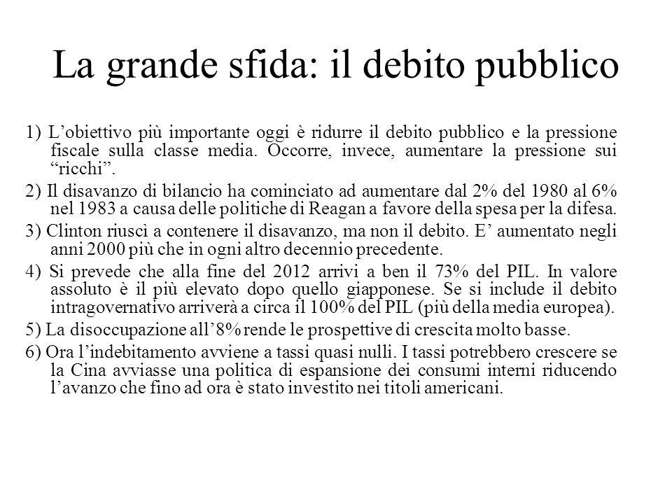 La grande sfida: il debito pubblico 1) L'obiettivo più importante oggi è ridurre il debito pubblico e la pressione fiscale sulla classe media. Occorre