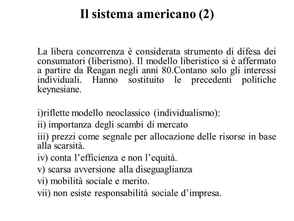 Il sistema americano (2) La libera concorrenza è considerata strumento di difesa dei consumatori (liberismo). Il modello liberistico si è affermato a