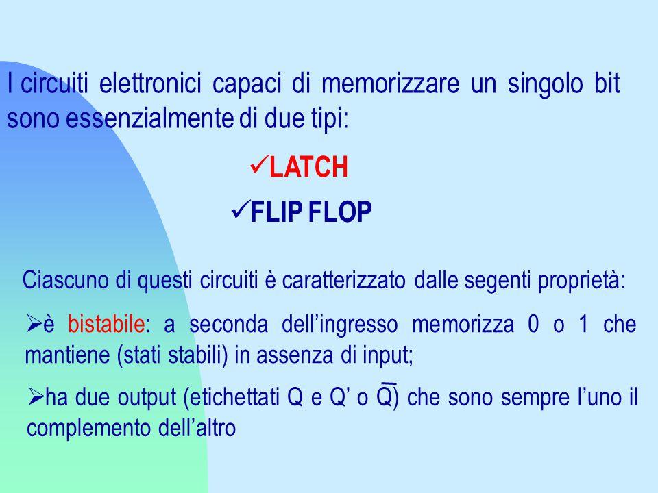 I circuiti elettronici capaci di memorizzare un singolo bit sono essenzialmente di due tipi: LATCH FLIP FLOP Ciascuno di questi circuiti è caratterizzato dalle segenti proprietà:  è bistabile: a seconda dell'ingresso memorizza 0 o 1 che mantiene (stati stabili) in assenza di input;  ha due output (etichettati Q e Q' o Q) che sono sempre l'uno il complemento dell'altro