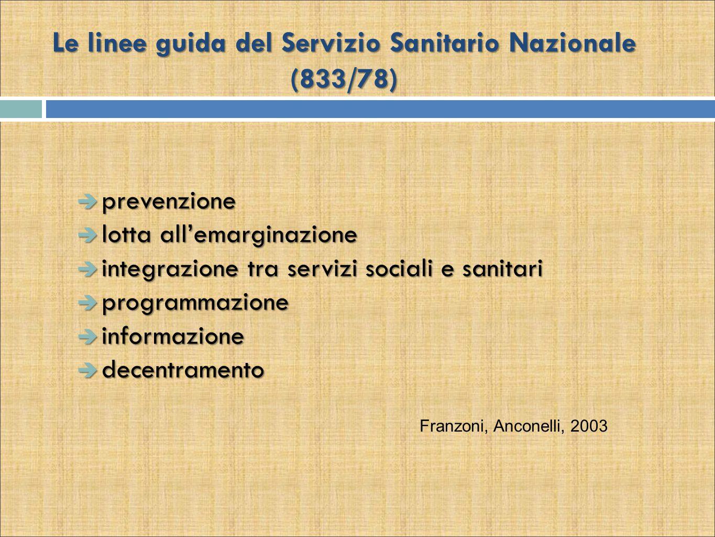 Le linee guida del Servizio Sanitario Nazionale (833/78)  prevenzione  lotta all'emarginazione  integrazione tra servizi sociali e sanitari  programmazione  informazione  decentramento Franzoni, Anconelli, 2003
