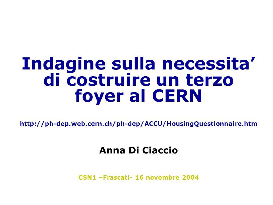 Indagine sulla necessita' di costruire un terzo foyer al CERN http://ph-dep.web.cern.ch/ph-dep/ACCU/HousingQuestionnaire.htm Anna Di Ciaccio CSN1 –Frascati- 16 novembre 2004
