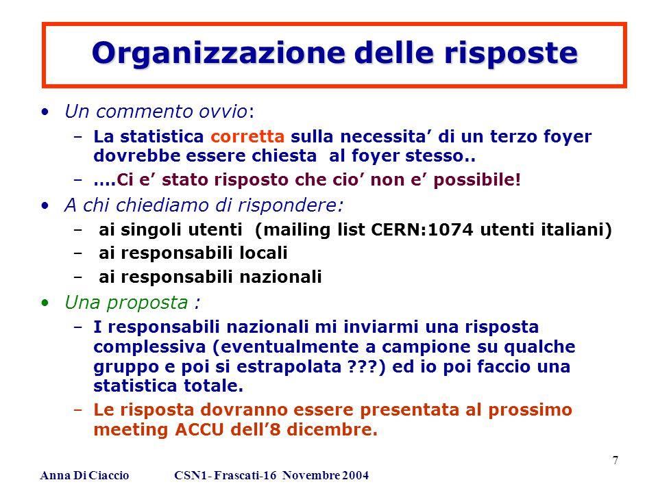 Anna Di Ciaccio CSN1- Frascati-16 Novembre 2004 7 Organizzazione delle risposte Un commento ovvio: –La statistica corretta sulla necessita' di un terzo foyer dovrebbe essere chiesta al foyer stesso..