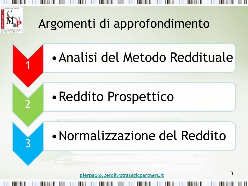 pierpaolo.ceroli@strategicpartners.it 54 Metodo di Valutazione: Reddituale LEZIONE N.4 5 Riferimento Temporale La Durata [4] rappresenta l'ultimo elemento del MR.