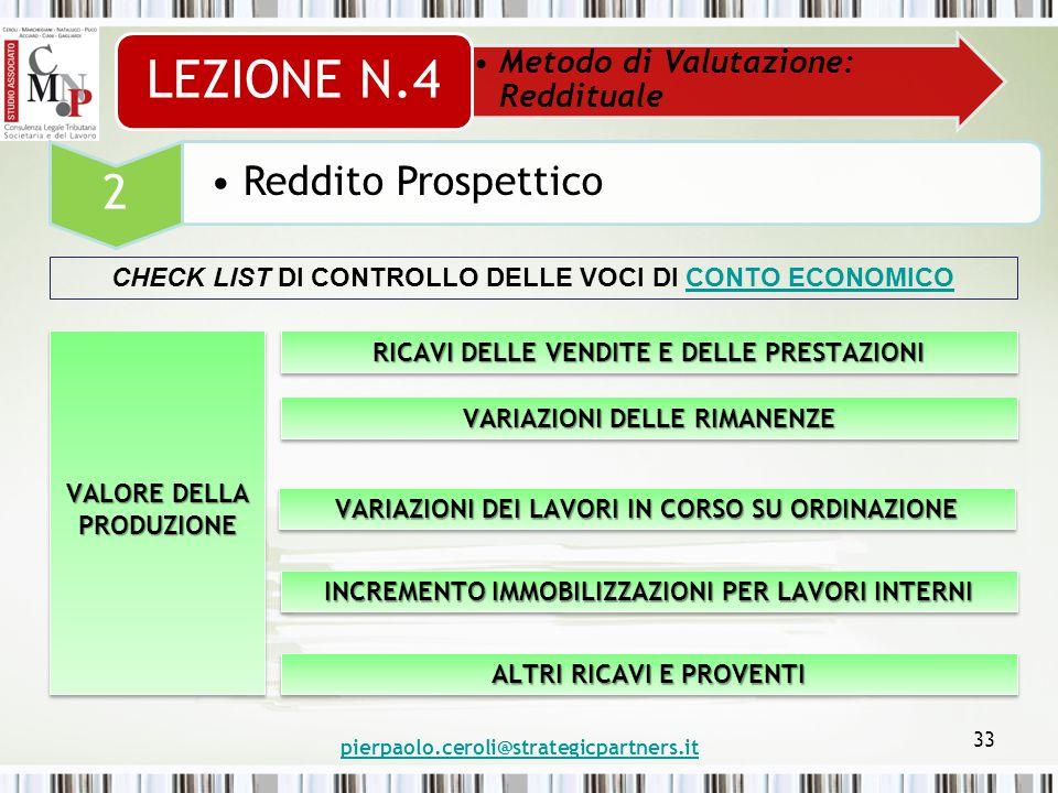 pierpaolo.ceroli@strategicpartners.it 33 Metodo di Valutazione: Reddituale LEZIONE N.4 2 Reddito Prospettico CHECK LIST DI CONTROLLO DELLE VOCI DI CONTO ECONOMICOCONTO ECONOMICO VALORE DELLA PRODUZIONE RICAVI DELLE VENDITE E DELLE PRESTAZIONI VARIAZIONI DELLE RIMANENZE VARIAZIONI DEI LAVORI IN CORSO SU ORDINAZIONE INCREMENTO IMMOBILIZZAZIONI PER LAVORI INTERNI ALTRI RICAVI E PROVENTI
