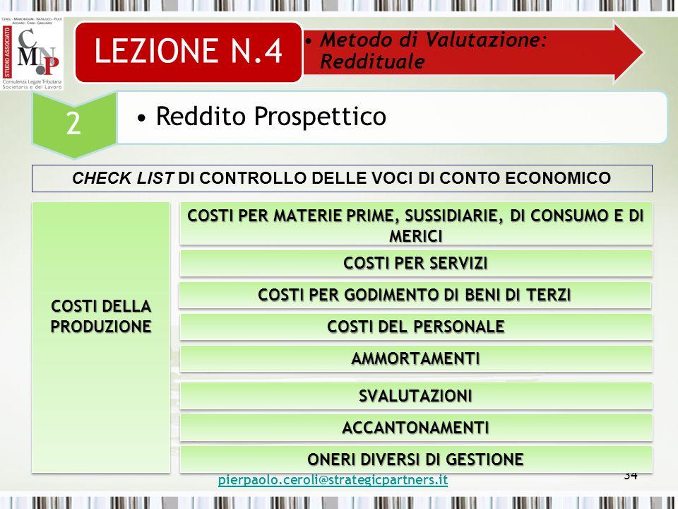 pierpaolo.ceroli@strategicpartners.it 34 Metodo di Valutazione: Reddituale LEZIONE N.4 2 Reddito Prospettico CHECK LIST DI CONTROLLO DELLE VOCI DI CONTO ECONOMICO COSTI DELLA PRODUZIONE COSTI PER MATERIE PRIME, SUSSIDIARIE, DI CONSUMO E DI MERICI COSTI PER SERVIZI COSTI PER GODIMENTO DI BENI DI TERZI COSTI DEL PERSONALE AMMORTAMENTIAMMORTAMENTI SVALUTAZIONISVALUTAZIONI ACCANTONAMENTIACCANTONAMENTI ONERI DIVERSI DI GESTIONE