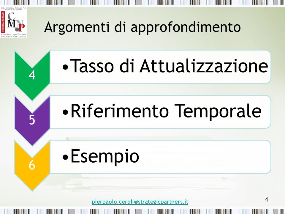 Argomenti di approfondimento 4 Tasso di Attualizzazione 5 Riferimento Temporale 6 Esempio pierpaolo.ceroli@strategicpartners.it 4