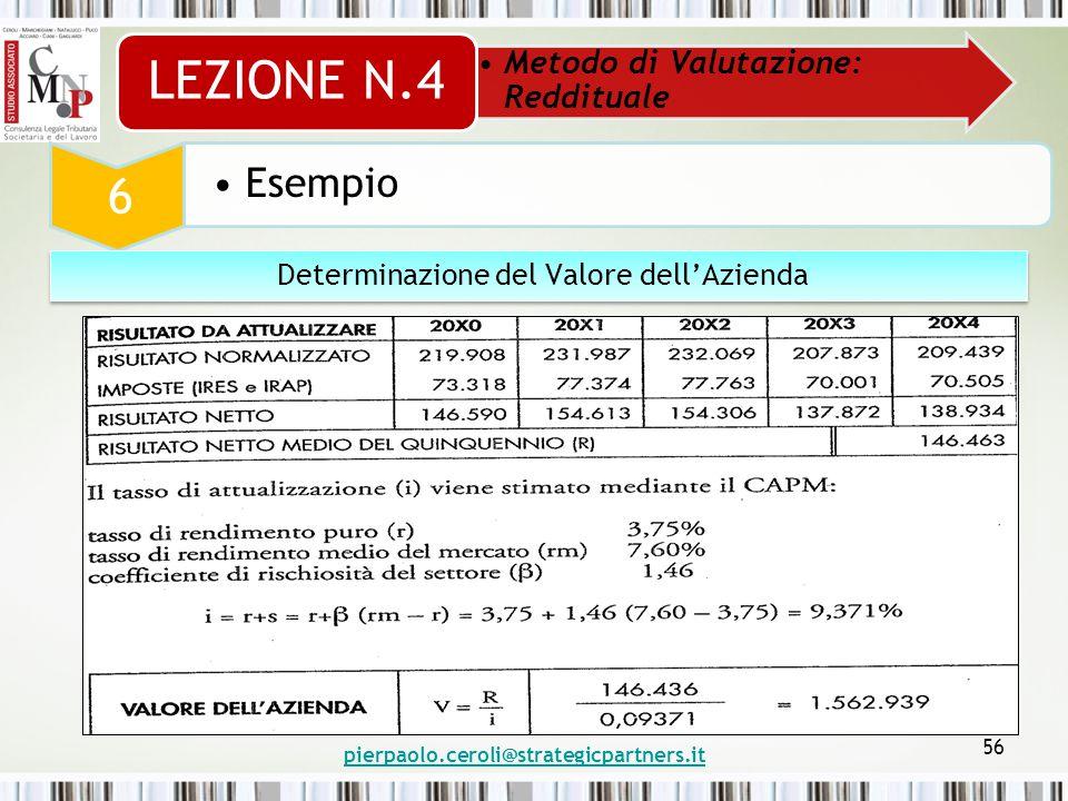 pierpaolo.ceroli@strategicpartners.it 56 Metodo di Valutazione: Reddituale LEZIONE N.4 6 Esempio Determinazione del Valore dell'Azienda