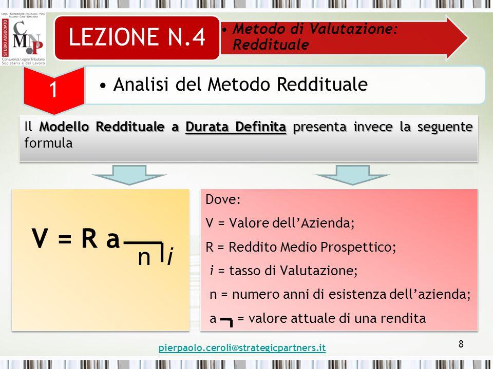 pierpaolo.ceroli@strategicpartners.it 9 Modello Reddituale a Durata Definita Sviluppando la formula del Modello Reddituale a Durata Definita si otterrà: Metodo di Valutazione: Reddituale LEZIONE N.4 1 Analisi del Metodo Reddituale V = R a = R ni (1+i) n -1 i (1+i) n