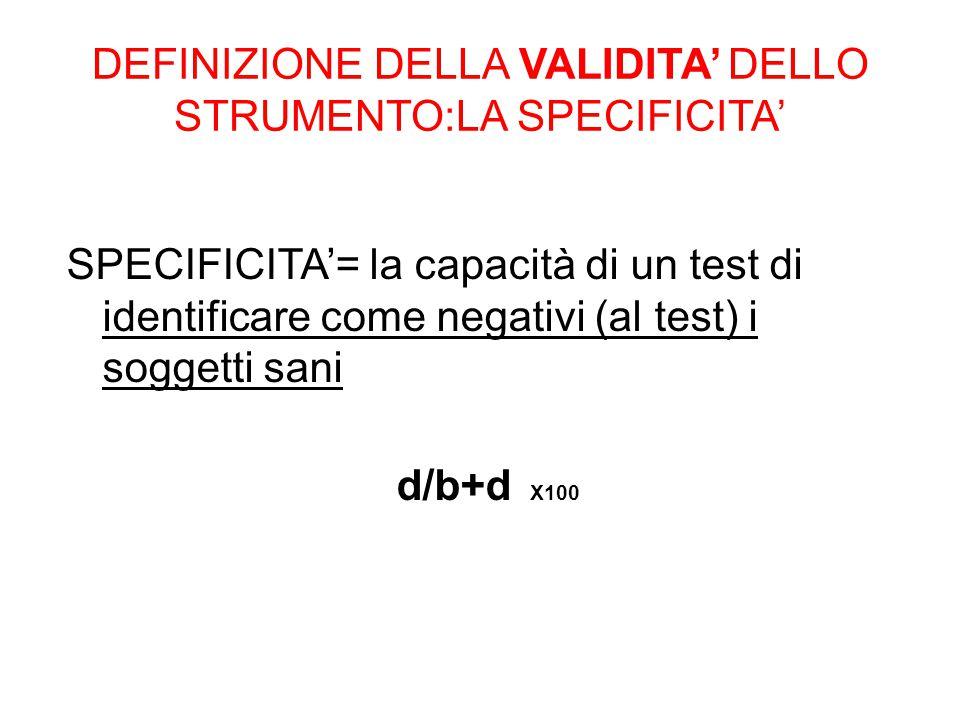 DEFINIZIONE DELLA VALIDITA' DELLO STRUMENTO:LA SPECIFICITA' SPECIFICITA'= la capacità di un test di identificare come negativi (al test) i soggetti sa