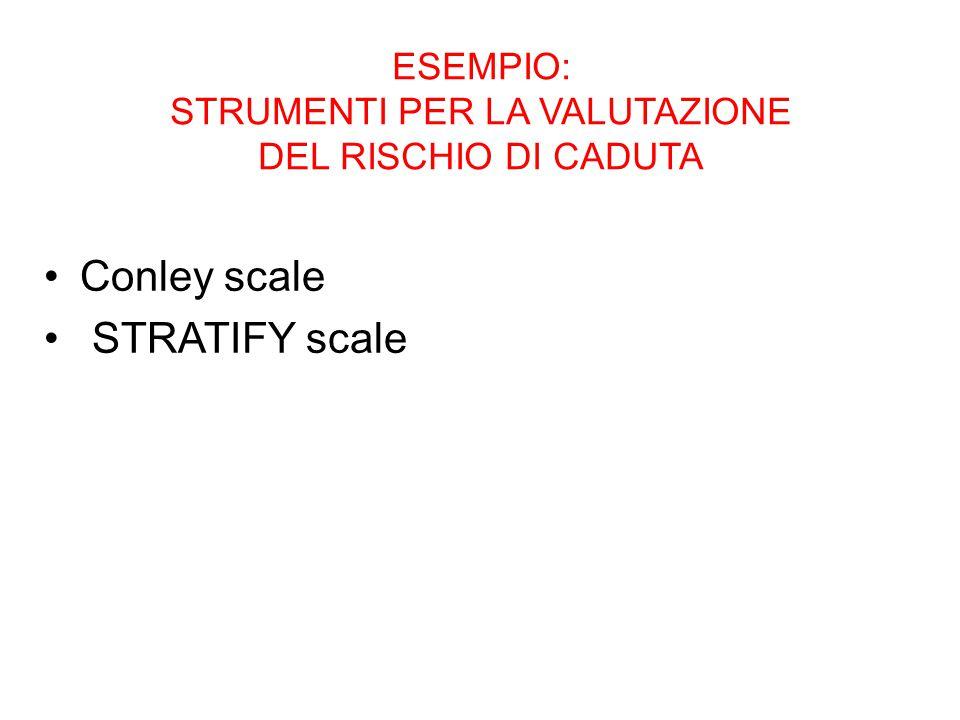 ESEMPIO: STRUMENTI PER LA VALUTAZIONE DEL RISCHIO DI CADUTA Conley scale STRATIFY scale