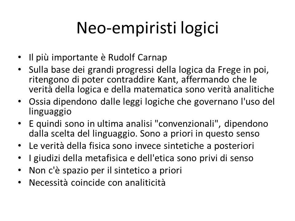 Neo-empiristi logici Il più importante è Rudolf Carnap Sulla base dei grandi progressi della logica da Frege in poi, ritengono di poter contraddire Ka