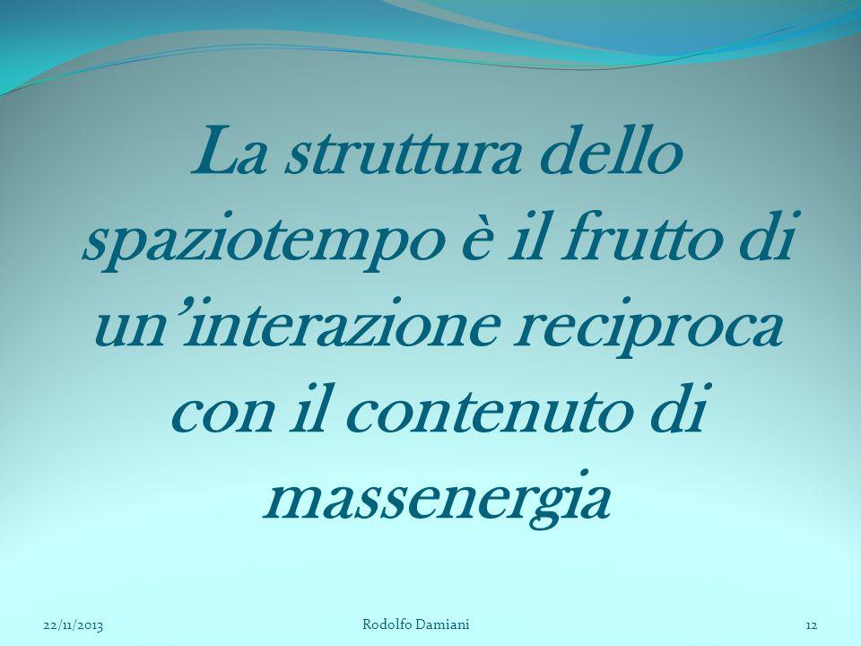 La struttura dello spaziotempo è il frutto di un'interazione reciproca con il contenuto di massenergia 22/11/2013 Rodolfo Damiani12