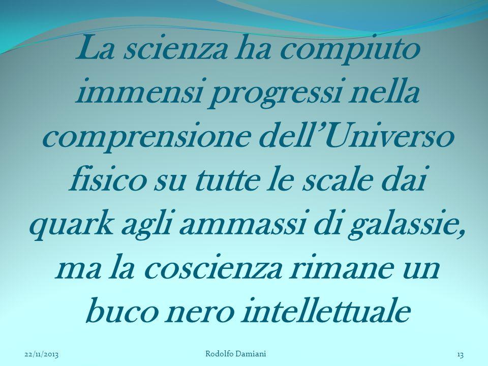 La scienza ha compiuto immensi progressi nella comprensione dell'Universo fisico su tutte le scale dai quark agli ammassi di galassie, ma la coscienza