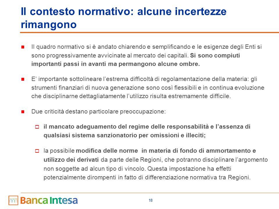 18 Il contesto normativo: alcune incertezze rimangono Il quadro normativo si è andato chiarendo e semplificando e le esigenze degli Enti si sono progr