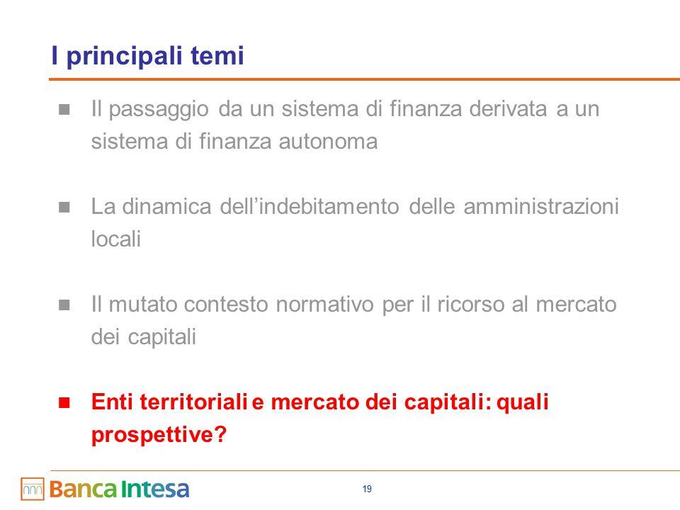 19 I principali temi Il passaggio da un sistema di finanza derivata a un sistema di finanza autonoma La dinamica dell'indebitamento delle amministrazioni locali Il mutato contesto normativo per il ricorso al mercato dei capitali Enti territoriali e mercato dei capitali: quali prospettive