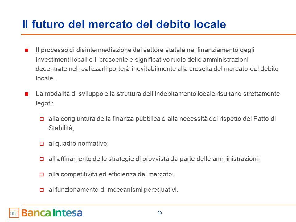 20 Il processo di disintermediazione del settore statale nel finanziamento degli investimenti locali e il crescente e significativo ruolo delle amministrazioni decentrate nel realizzarli porterà inevitabilmente alla crescita del mercato del debito locale.