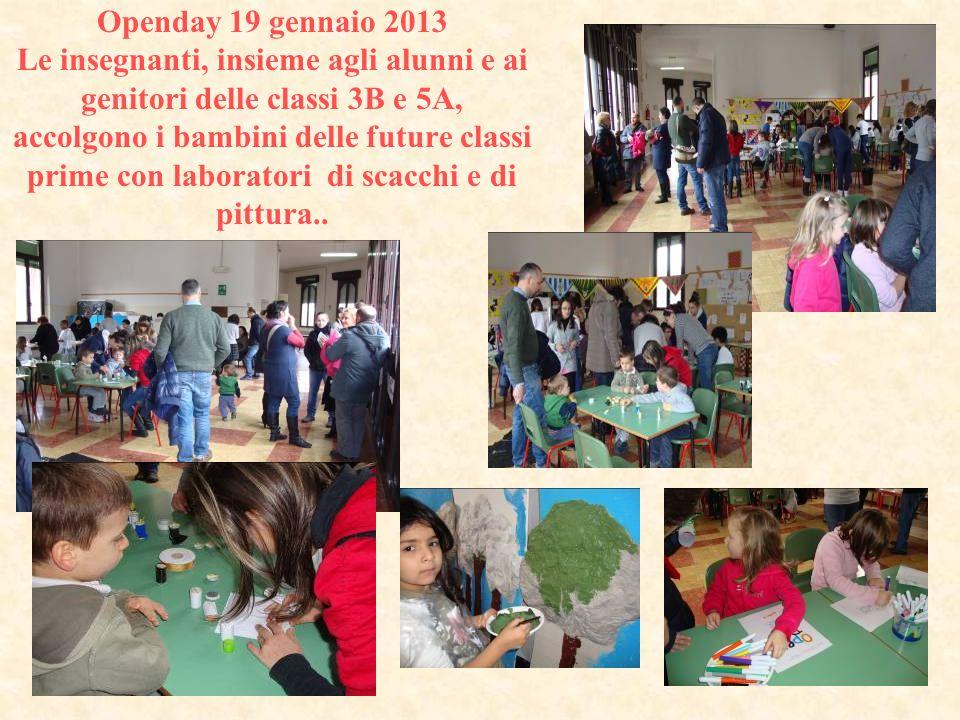Openday 19 gennaio 2013 Le insegnanti, insieme agli alunni e ai genitori delle classi 3B e 5A, accolgono i bambini delle future classi prime con labor