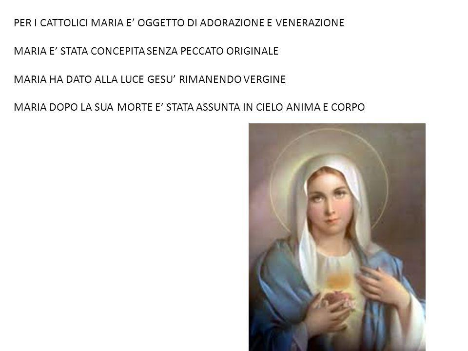 PER I CATTOLICI MARIA E' OGGETTO DI ADORAZIONE E VENERAZIONE MARIA E' STATA CONCEPITA SENZA PECCATO ORIGINALE MARIA HA DATO ALLA LUCE GESU' RIMANENDO
