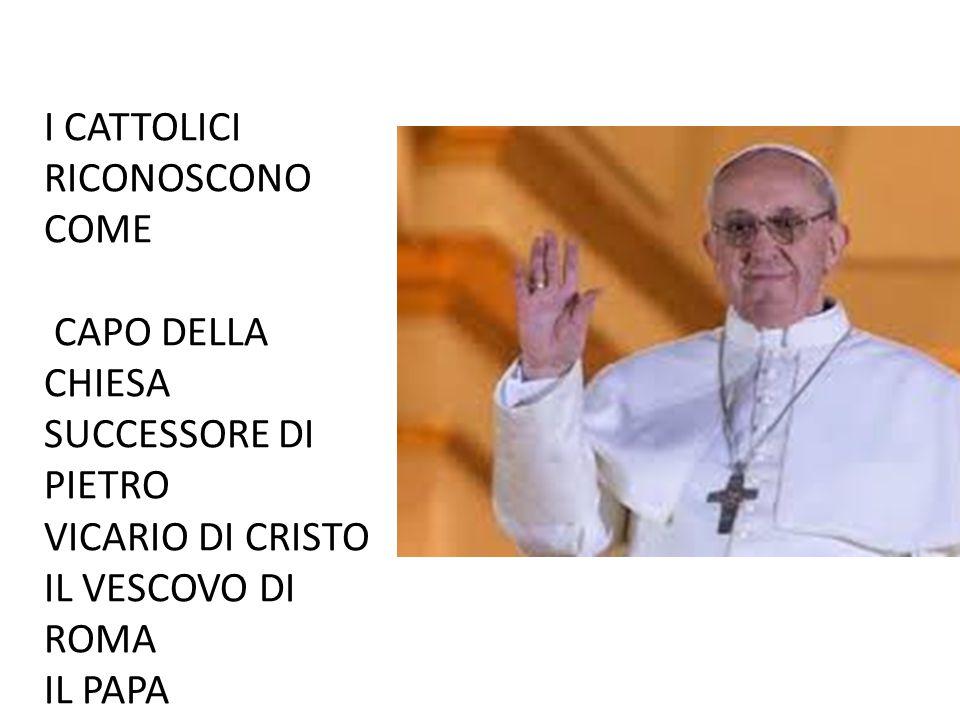 I CATTOLICI RICONOSCONO COME CAPO DELLA CHIESA SUCCESSORE DI PIETRO VICARIO DI CRISTO IL VESCOVO DI ROMA IL PAPA