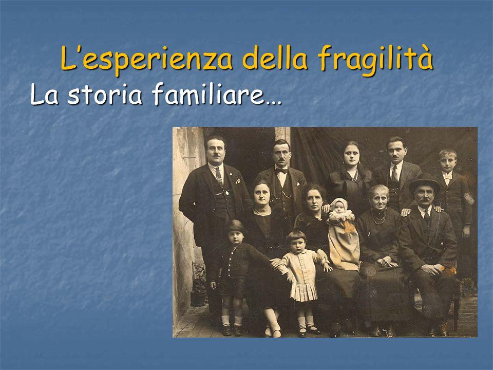 L'esperienza della fragilità La storia familiare…