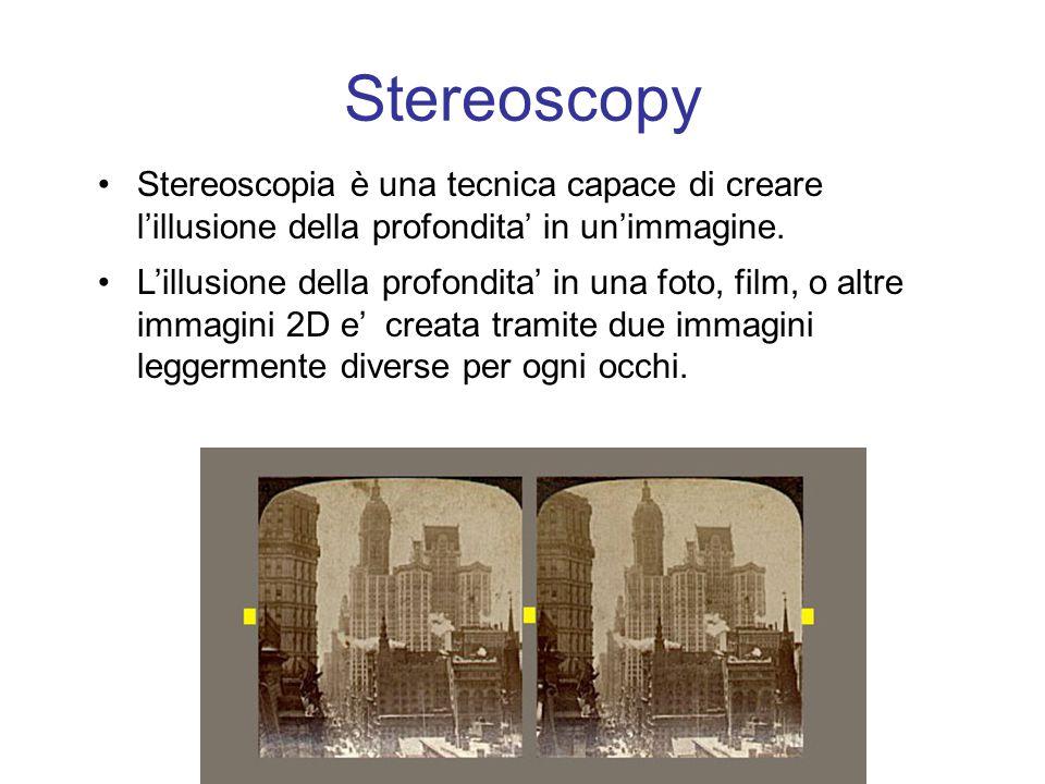 Stereoscopy Stereoscopia è una tecnica capace di creare l'illusione della profondita' in un'immagine.