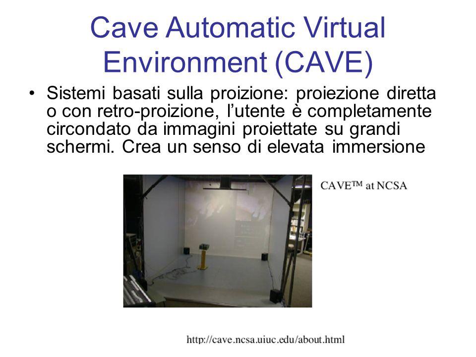 Cave Automatic Virtual Environment (CAVE) Sistemi basati sulla proizione: proiezione diretta o con retro-proizione, l'utente è completamente circondato da immagini proiettate su grandi schermi.