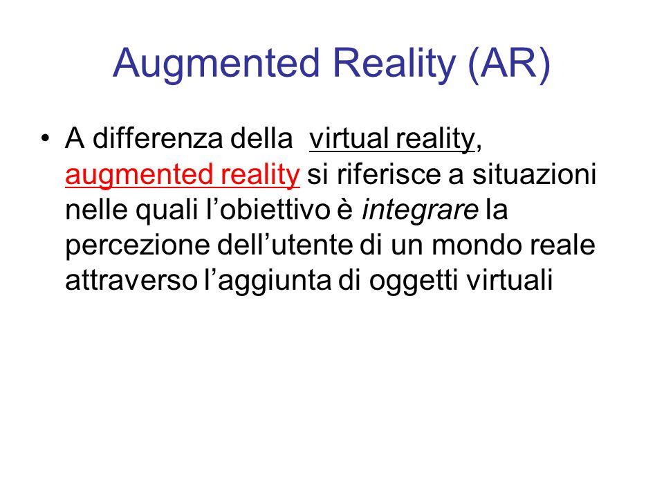 Augmented Reality (AR) A differenza della virtual reality, augmented reality si riferisce a situazioni nelle quali l'obiettivo è integrare la percezione dell'utente di un mondo reale attraverso l'aggiunta di oggetti virtuali