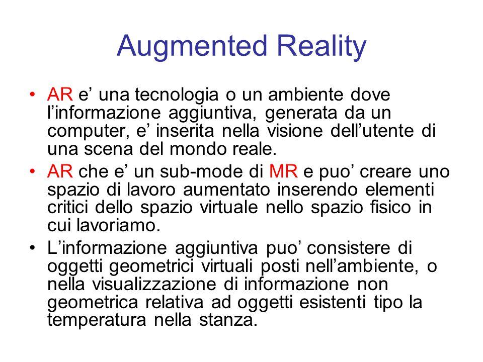 Augmented Reality AR e' una tecnologia o un ambiente dove l'informazione aggiuntiva, generata da un computer, e' inserita nella visione dell'utente di una scena del mondo reale.