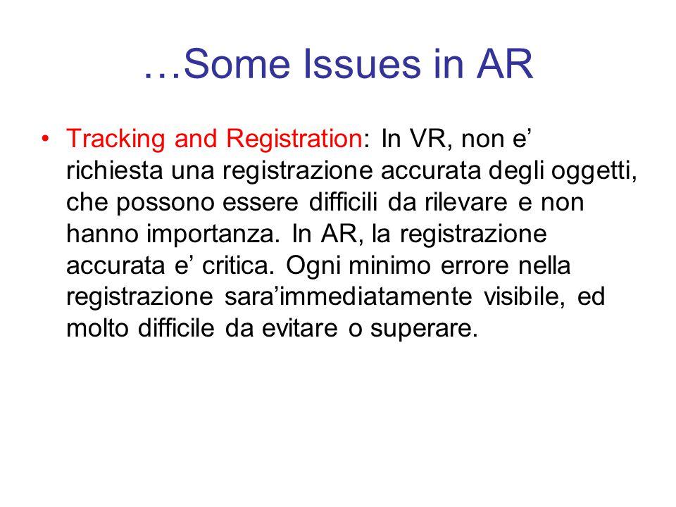 …Some Issues in AR Tracking and Registration: In VR, non e' richiesta una registrazione accurata degli oggetti, che possono essere difficili da rilevare e non hanno importanza.