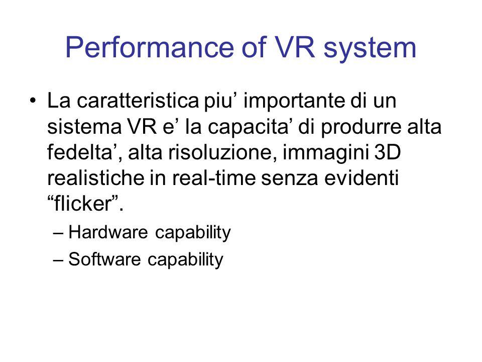 Four Key Elements in Experiencing VR –Un ambiente virtuale –Immersione (fisica e mentale): dà un senso di presenza nell'ambiente virtuale; questo puo' essere uno stato puramente mentale o realizzato con mezzi fisici –Feedback: sensoriale visivo/auditivo/tattile inviato all'utente.