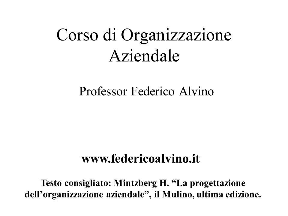 """Corso di Organizzazione Aziendale Professor Federico Alvino www.federicoalvino.it Testo consigliato: Mintzberg H. """"La progettazione dell'organizzazion"""