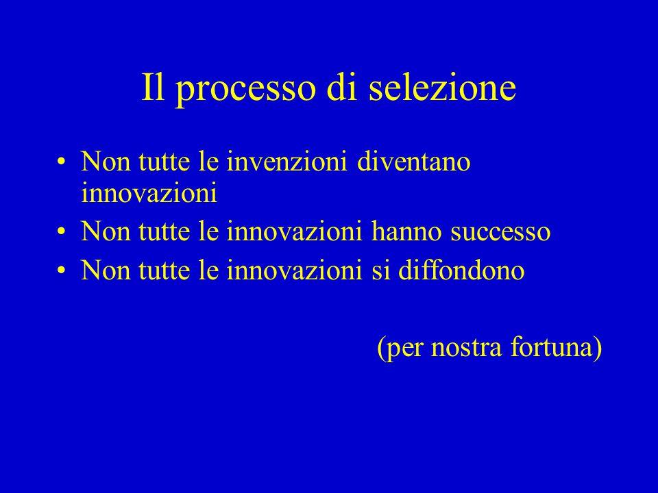 Il processo di selezione Non tutte le invenzioni diventano innovazioni Non tutte le innovazioni hanno successo Non tutte le innovazioni si diffondono