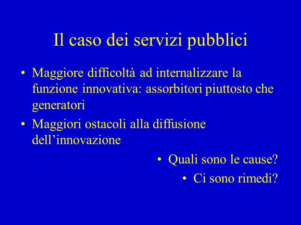Il caso dei servizi pubblici Maggiore difficoltà ad internalizzare la funzione innovativa: assorbitori piuttosto che generatori Maggiori ostacoli alla