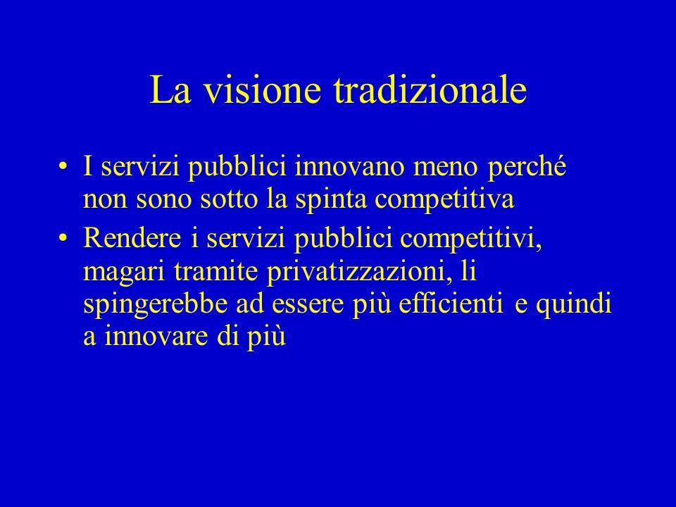 La visione tradizionale I servizi pubblici innovano meno perché non sono sotto la spinta competitiva Rendere i servizi pubblici competitivi, magari tr