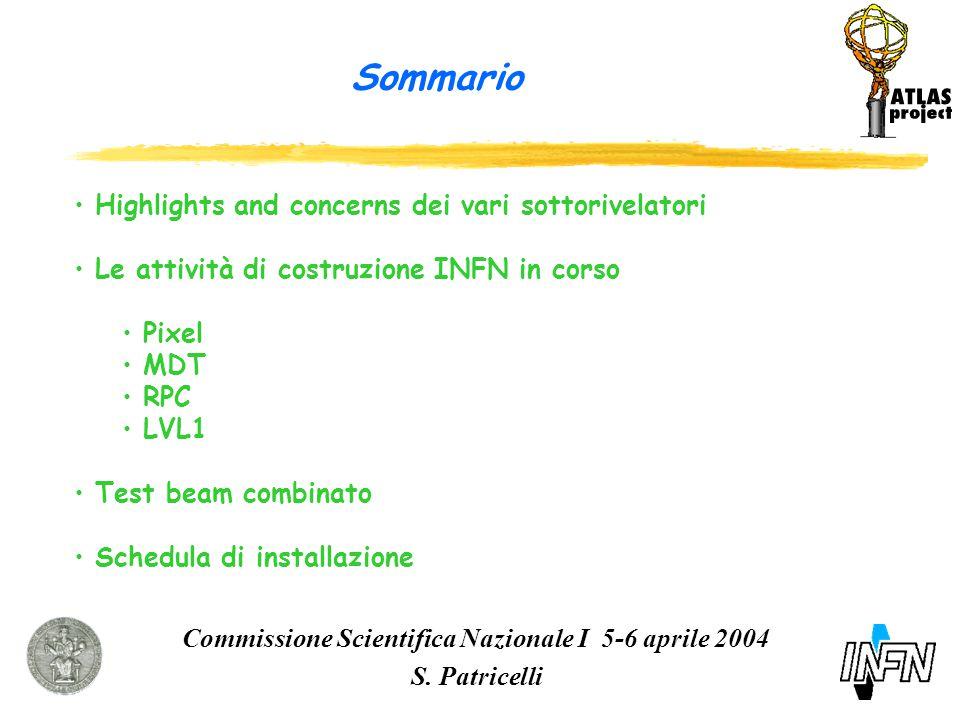 Sommario Commissione Scientifica Nazionale I 5-6 aprile 2004 S.