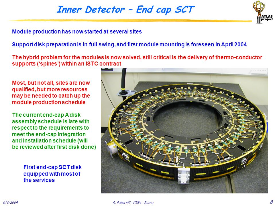 6/4/2004 S. Patricelli - CSN1 - Roma 8 Inner Detector – End cap SCT Module production has now started at several sites Support disk preparation is in