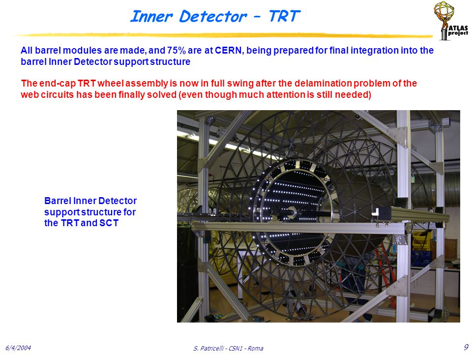 6/4/2004 S. Patricelli - CSN1 - Roma 9 Inner Detector – TRT Barrel Inner Detector support structure for the TRT and SCT All barrel modules are made, a