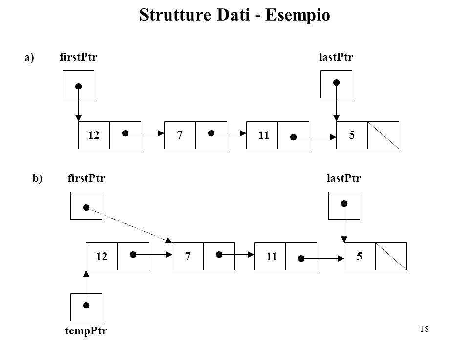 18 Strutture Dati - Esempio a) 71112 firstPtrlastPtr 5 b) 71112 firstPtrlastPtr 5 tempPtr
